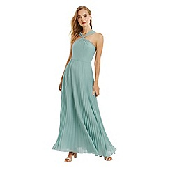 Oasis - Pale green twist neck pleated maxi dress