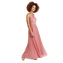 Oasis - Pale pink twist neck pleated maxi dress
