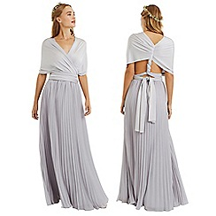 Oasis - Pale grey wear it your way pleated maxi dress