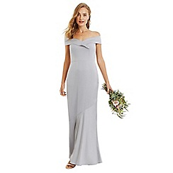 Oasis - Pale grey bardot slinky maxi dress
