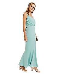 Oasis - Pale green 'Emily' slinky bow back maxi dress