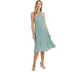 Oasis - Pale green twist neck chiffon midi dress