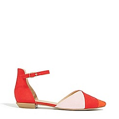 Oasis - Multi Red 2 Part Stripe Flats