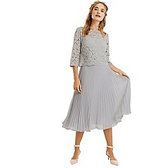 Oasis - Pale grey 3/4 sleeve lace top midi dress