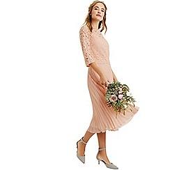 Oasis - Dusky pink 3/4 sleeve lace top midi dress
