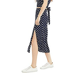 Oasis - Multi Blue Spot Print Split Midi Skirt