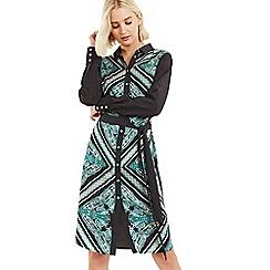 Oasis - Multi green city paisley shirt dress
