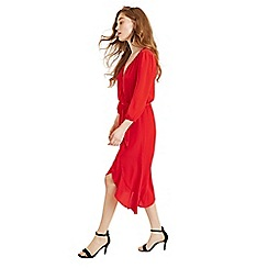 Oasis - Mid Red Button Wrap Midi Dress
