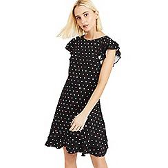 Oasis - Multi Black Multi Spot Button Skater Dress