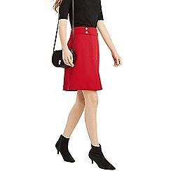 Oasis - Mid Red Button Detail Skirt