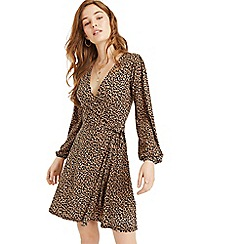 Oasis - Animal balloon sleeve wrap dress
