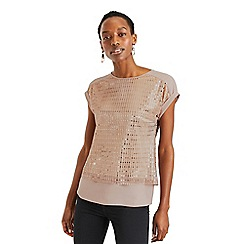 Oasis - Rose Gold Sequin Plisse Roll Sleeve Tee