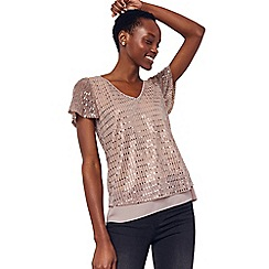 Oasis - Rose Gold V Neck Sequin Plisse Tee