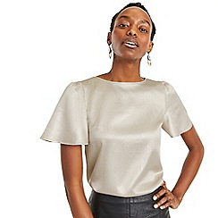 Oasis - Nude Hammered Satin Angel Sleeve Top