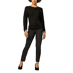 Warehouse - Sparkle ruched sleeves jumper