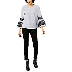 Warehouse - Textured stripe lace top