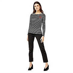 Warehouse - Cherry embroidered stripe top