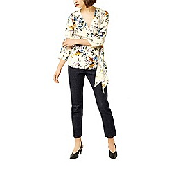 Warehouse - Trailing floral wrap top