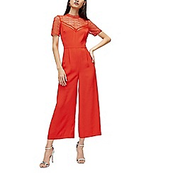 Warehouse - Lace and crepe jumpsuit