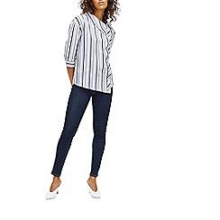 Warehouse - Navy striped asymmetric shirt