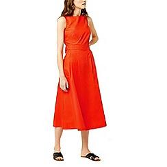 Warehouse - Cotton tie back midi dress