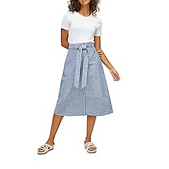 Warehouse - Button stripe linen skirt