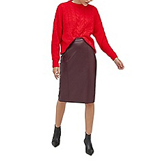 Warehouse - Faux leather pencil skirt