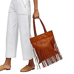 Warehouse - Leather fringe shopper bag