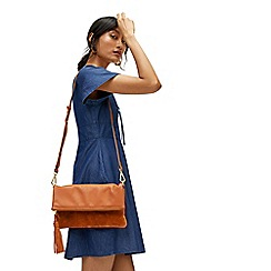 Warehouse - Tassel zip leather crossbody bag