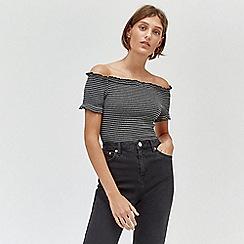 Warehouse - Bardot cheesecloth stripe top