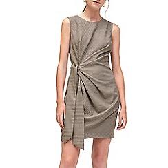 Warehouse - Honey side tie check dress