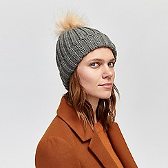 Warehouse - Fur pom rib hat