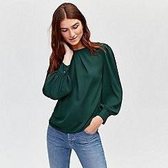 Warehouse - Pleat neck long sleeves top