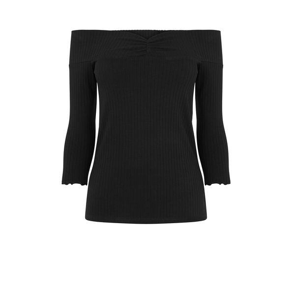 top rib Warehouse Black sleeve bardot long qttXwg1A
