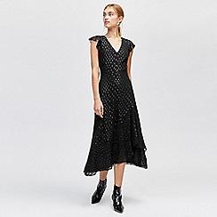 Warehouse - Metallic spot midi dress