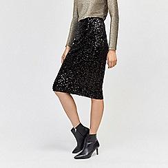 Warehouse - Velvet sequin midi skirt