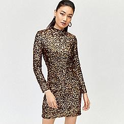 Warehouse - Velvet sequin high neck dress