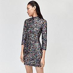 Warehouse - Rainbow sequin high neck dress