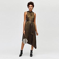 Warehouse - Foil pleated midi dress