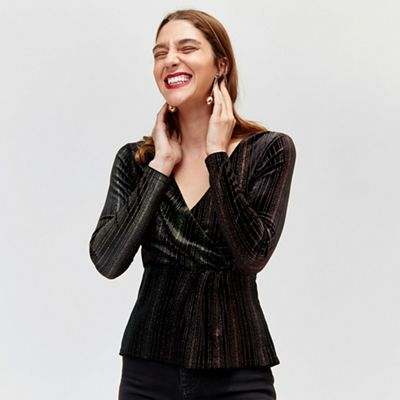 Warehouse   Ombre Glitter Wrap Top by Warehouse