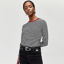 Warehouse - Contrast stripe cuff top