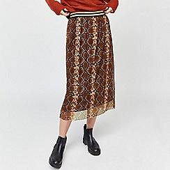 Warehouse - Snake print mesh skirt