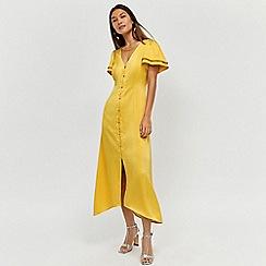 Warehouse - Satin Frill Sleeve Tea Dress