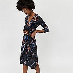 Warehouse - Savannah print wrap midi dress