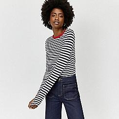 Warehouse - Contrast neck stripe top
