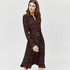 Warehouse - Tiger o-ring midi shirt dress