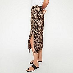 Warehouse - Animal Print Button Side Skirt