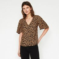 9b320bd8ef ANGELEYE Brown animal leopard print short sleeve wrap top