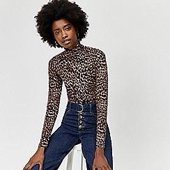 Warehouse - Leopard print polo top