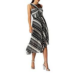 Coast - Mono stripe 'Felicity' pleated midi dress